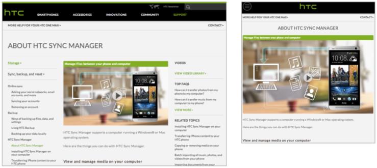 Responsive design of HTC.com